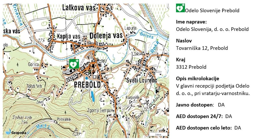 AED ODELO Slovenija, glavna recepcija, Tovarniška cesta 12, 3312 Prebold