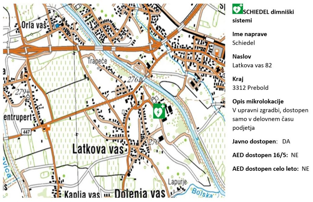 AED Podjetje Schiedel dimniški sistemi, Latkova vas 82, 3312 Prebold
