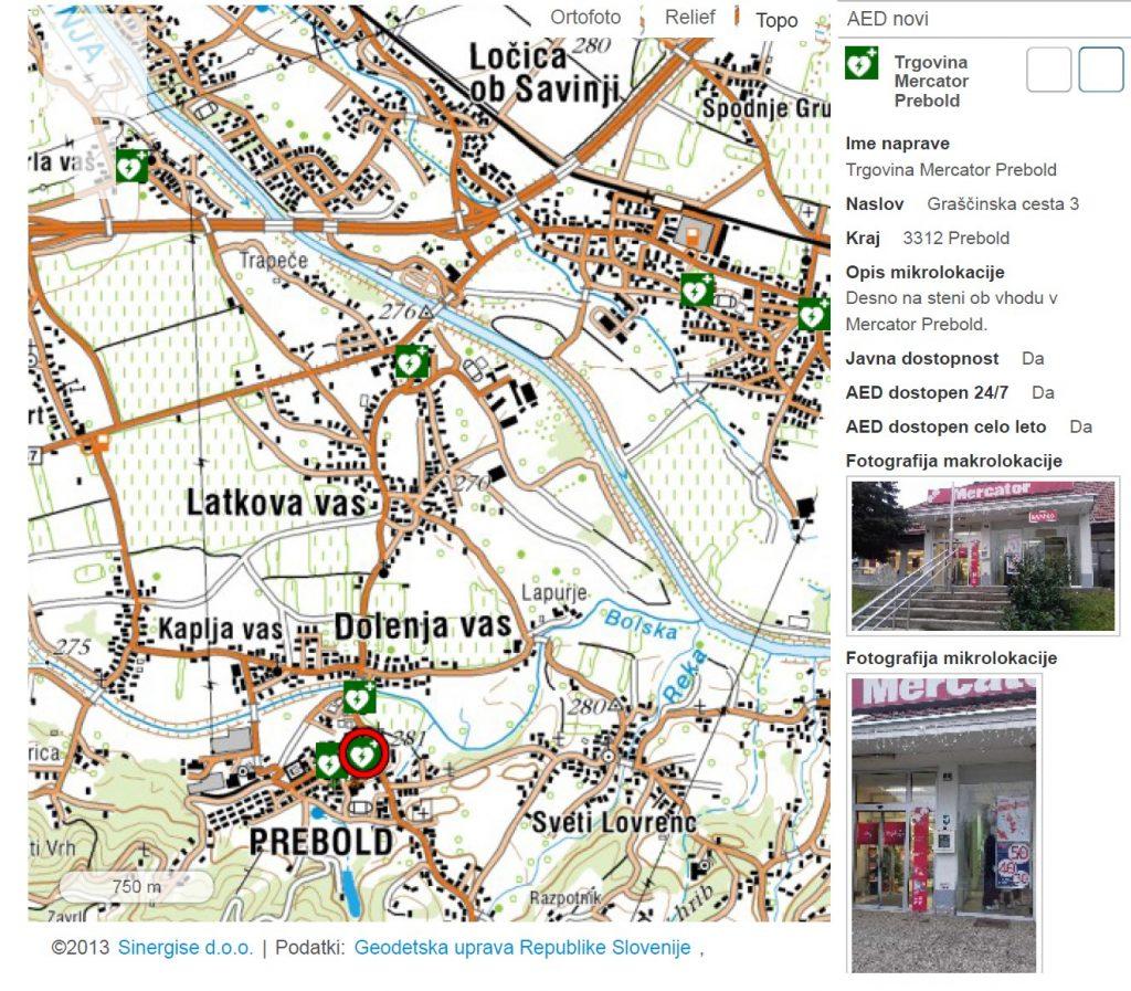 AED Trgovina Mercator Prebold, Graščinska cesta 3, 3312 Prebold