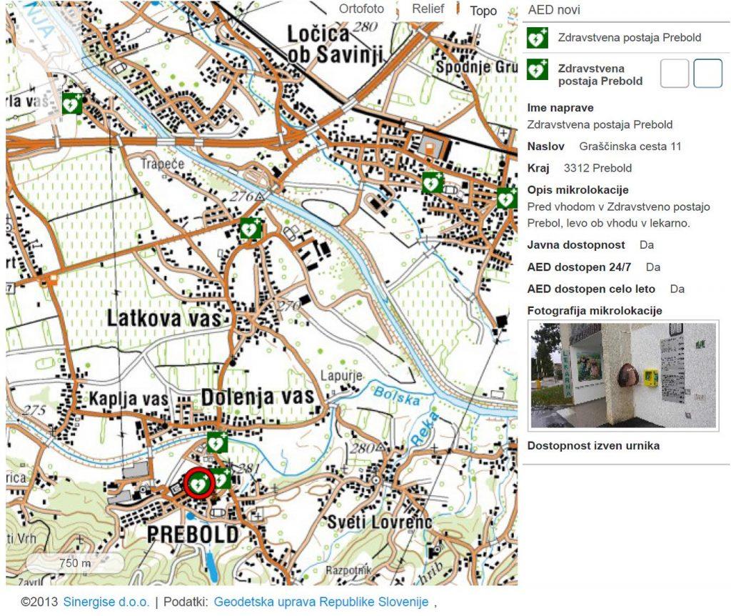 AED Zdravstvena postaja Prebold, Graščinska cesta 11, 3312 Prebold
